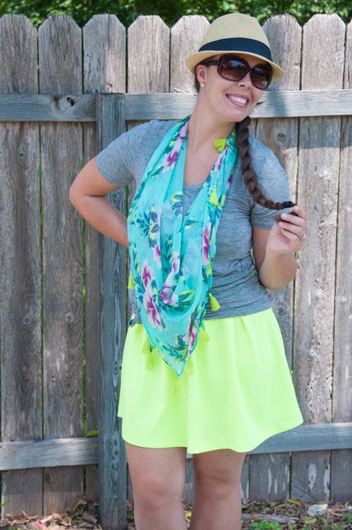 Neon skirt with grey tee shirt