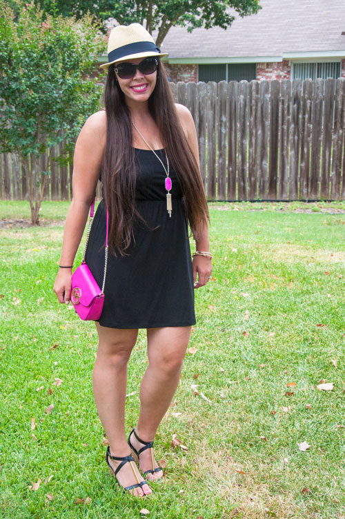 A pop of color in a black outfit