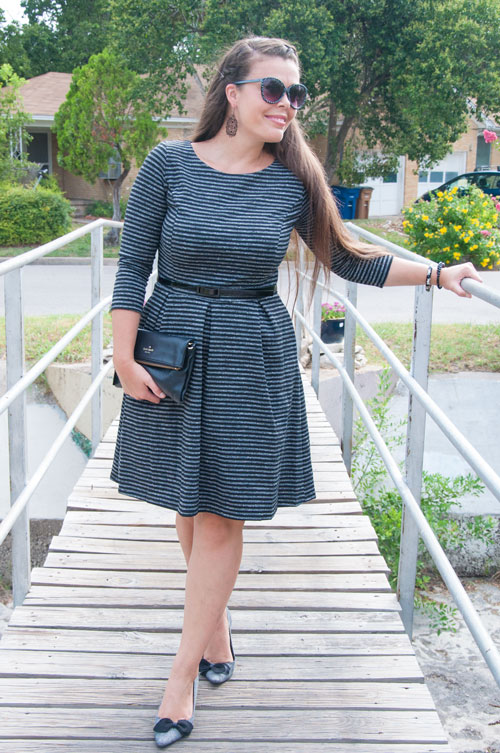 Black and white A line dress with sleeves