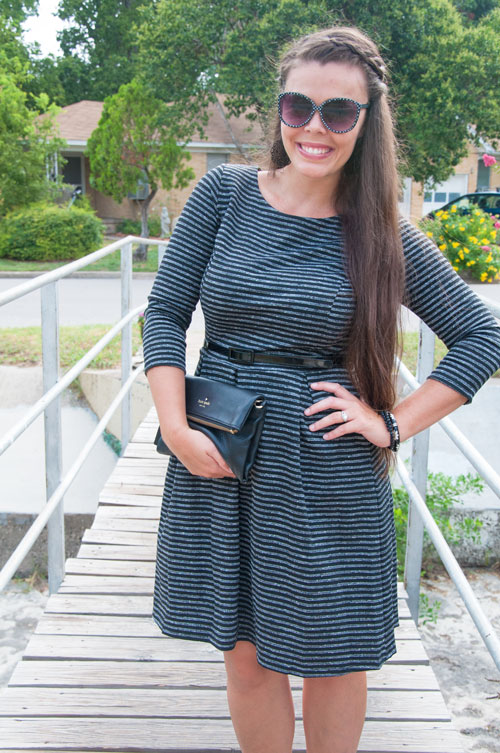 Black and white long sleeved dress