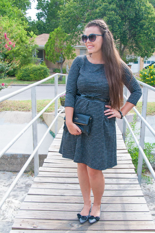 Black and white striped dress for fall