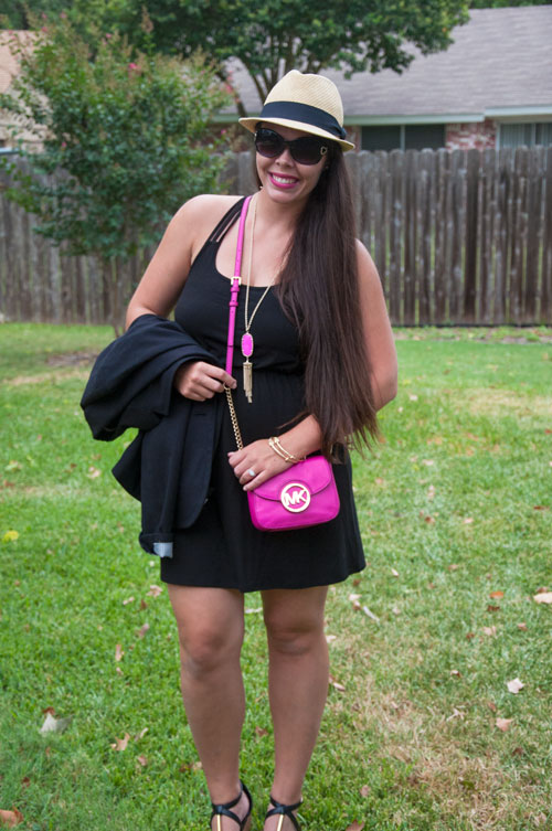 Black dress with black blazer and magenta accessories