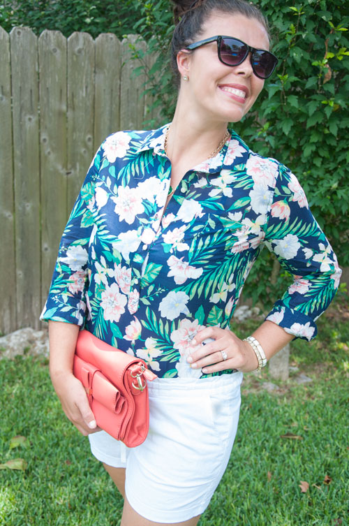 Blue tropical top with coral accents