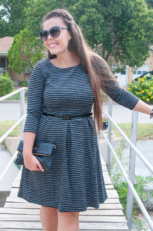 Fall fashion- grey black and white striped dress with sleeves