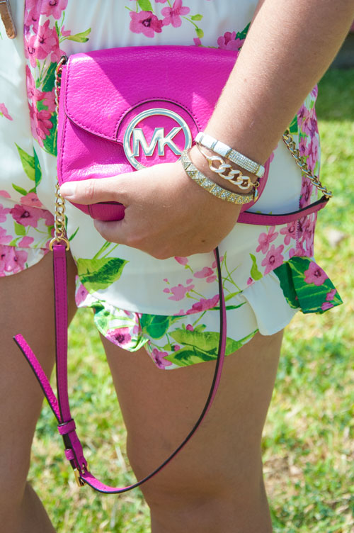 Floral bottoms with magenta Michael Kors handbag