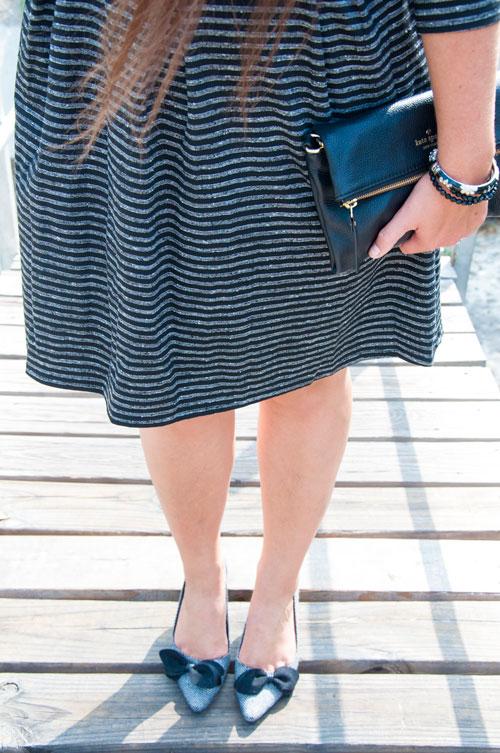 Grey heels with black bows