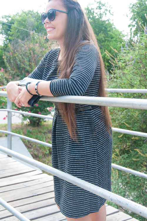 Grey striped dress for fall fashion