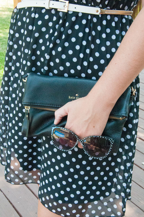 Kate spade clutch and polka dot sunnies