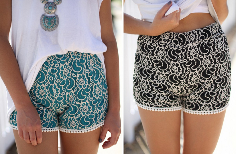 Lace shorts- Turquoise and black