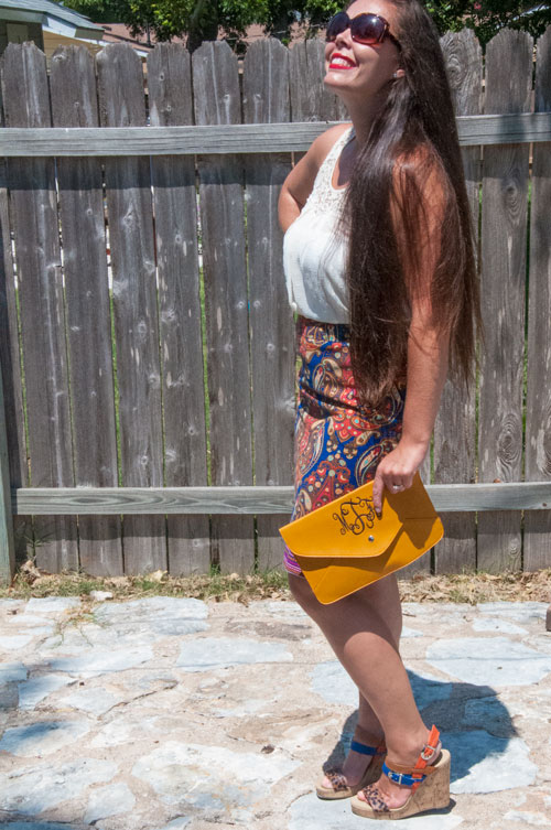 Monogram Clutch with Multi Colored Pencil Skirt