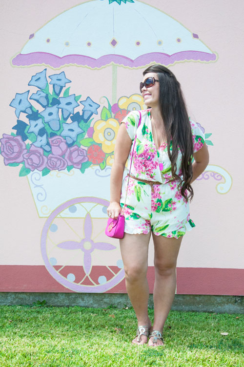 Pink and green floral romper with pink bag