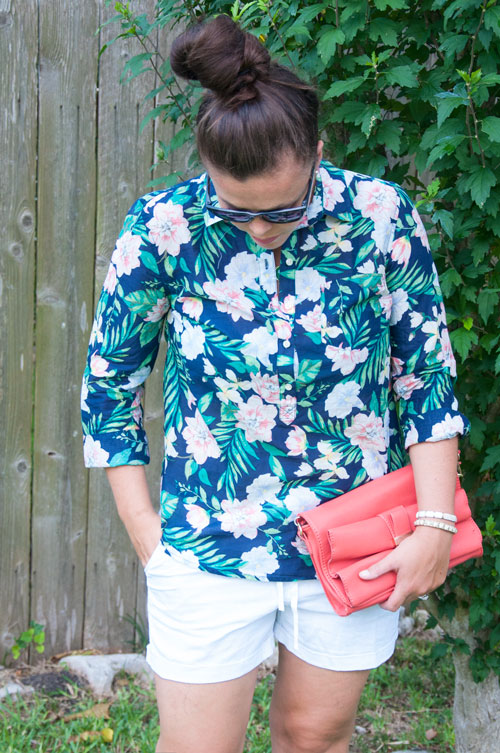 Tropical Button Down with white shorts