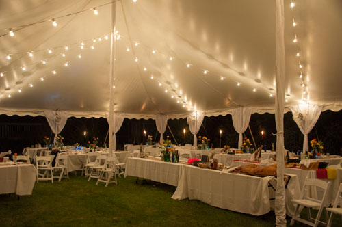 Wedding tent in backyard