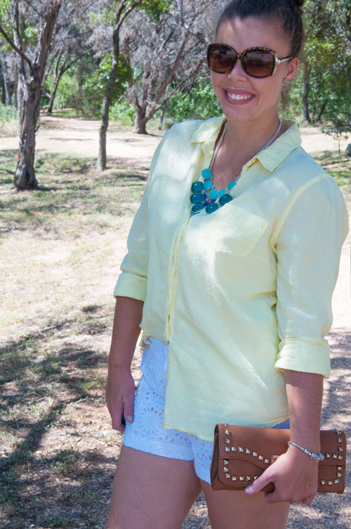 Yellow and Turquoise OUtfit Idea