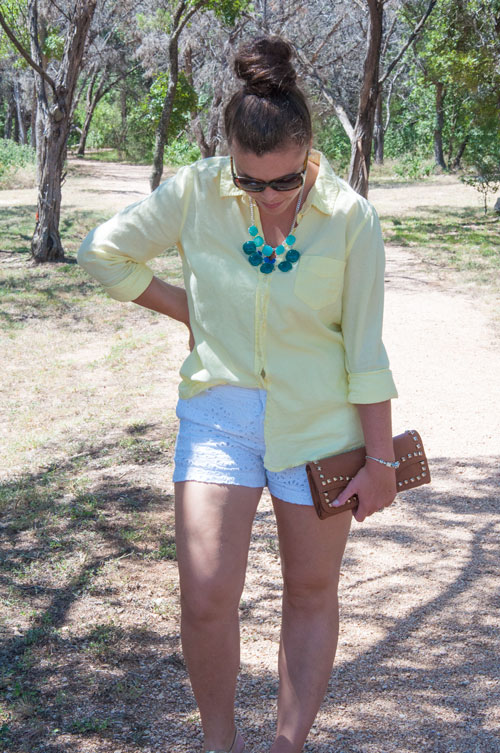 Yellow button down with turquoise necklace