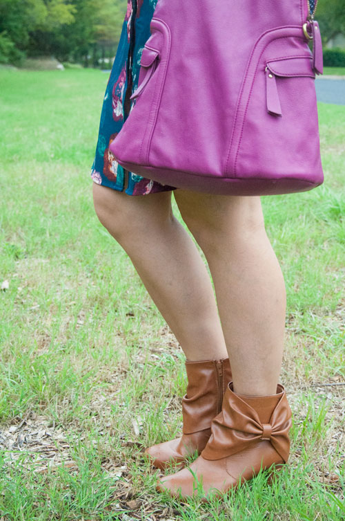 All That Glitters Blog- Burgundy Handbag and Cognac Bow Boots- Perfect for fall