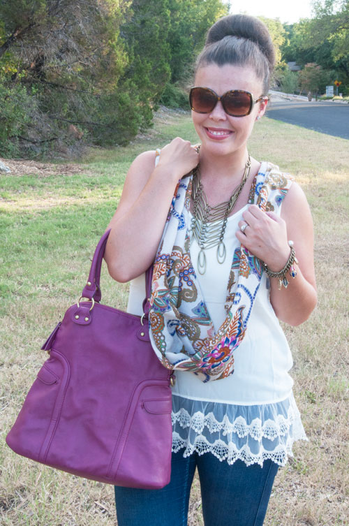 All That Glitters Blog-  Lace tunic with scarf and fall handbag