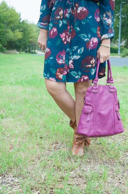 All That Glitters Blog- Purple Handbag for fall fashion