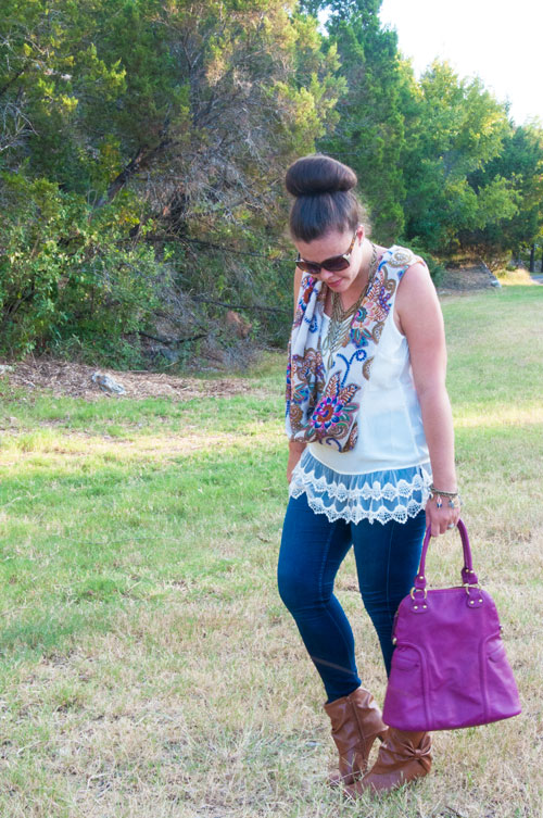 All That Glitters Blog- Purple boho outfit