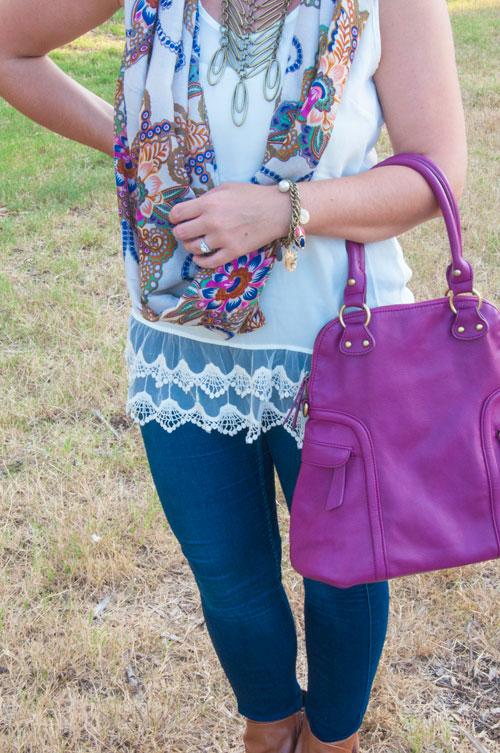 All That Glitters Blog- with purple handbag and scarf