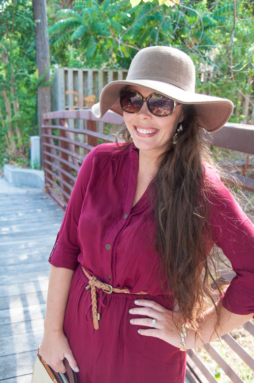 Brown fall hat with burgundy romper