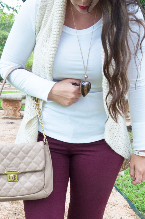 Burgundy Denim with a Tan knit vest