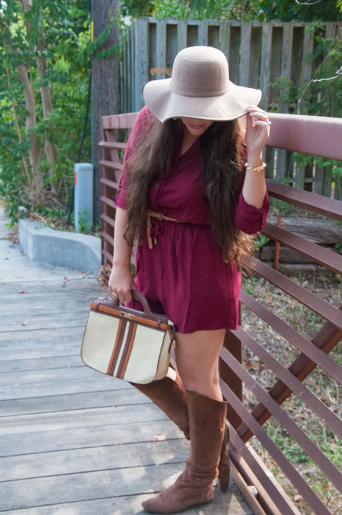 Burgundy and brown outfit inspiration for fall