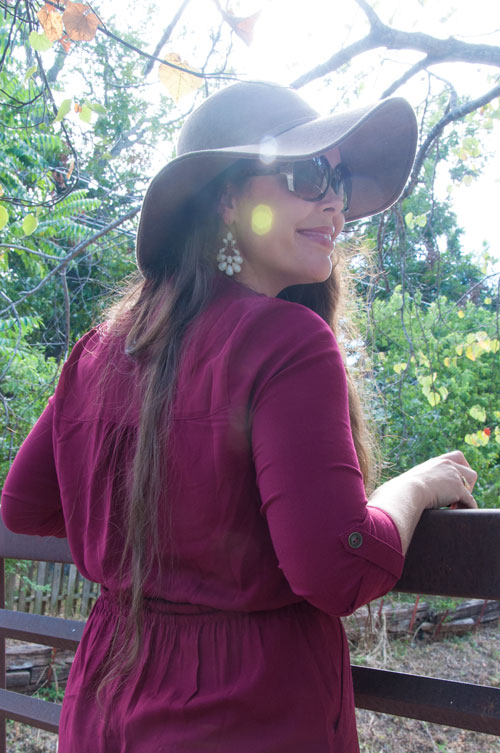 Burgundy dress with brown floppy fall hat