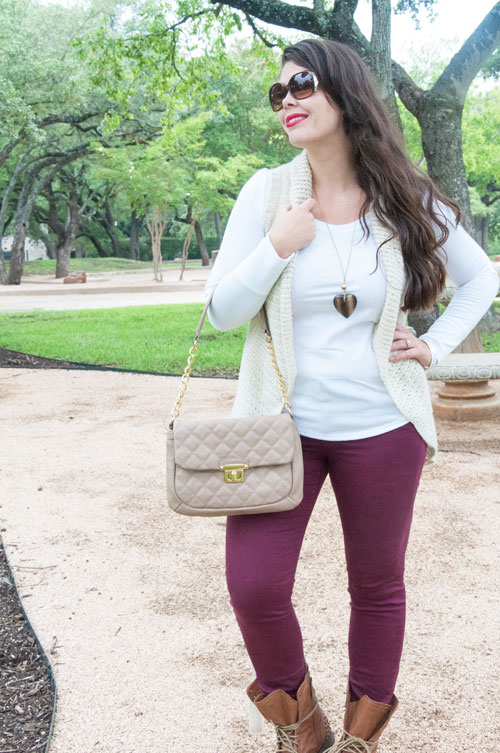 Burgundy jeans and tan accents