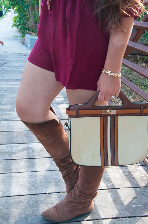 Burgundy shorts with tall brown boots