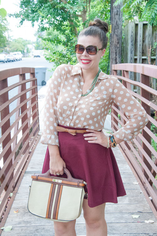 Burgundy skirt and a polka dot top
