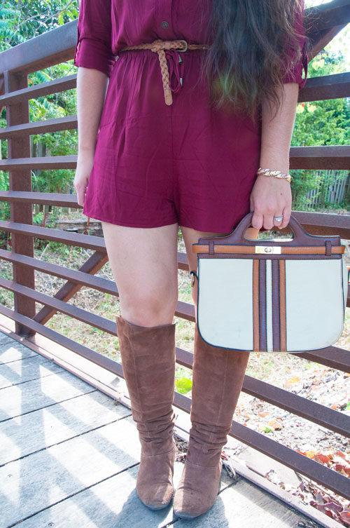 Cognac brown boots with burgundy romper