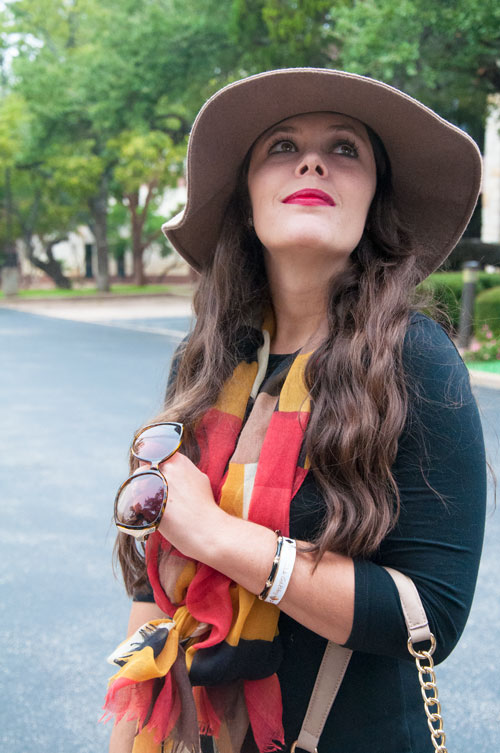 Coral and yellow with black for fall