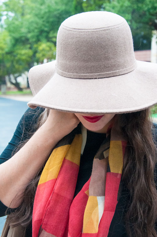 Floppy hat for fall with a colorful scarf