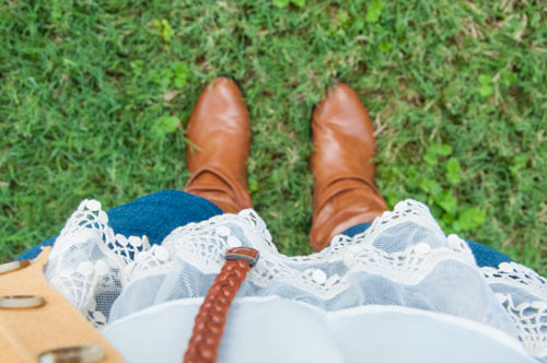 Lace ruffled tunic and cognac leather boots