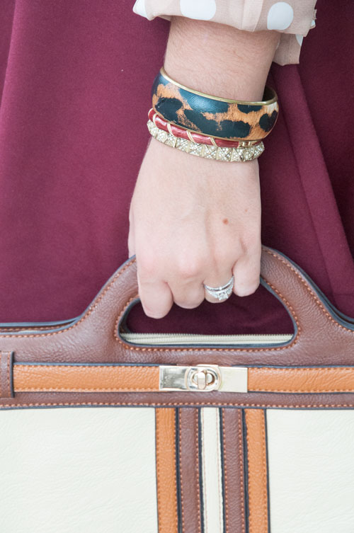 Leopard bracelt and burgundy skirt