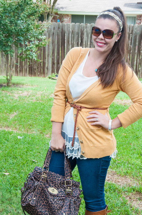 Mustard Cardigan with lace tunic
