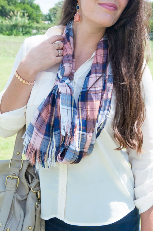 Navy and pink plaid scarf with a button down