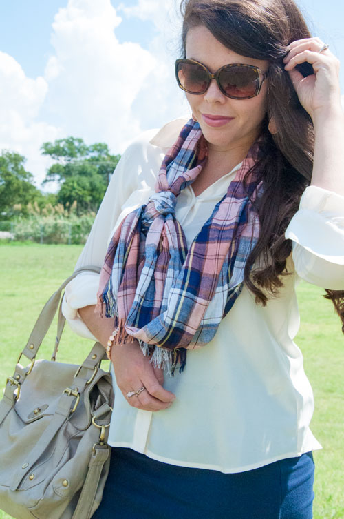Pink and Navy outfit with a plaid scarf