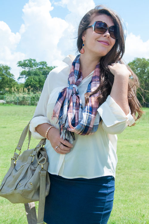 Pink and navy plaid scarf