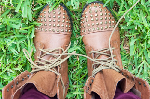 Studded Brown Combat Boots