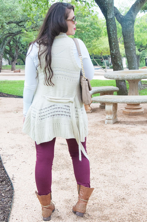 Tan knit vest with burgundy denim and combat boots
