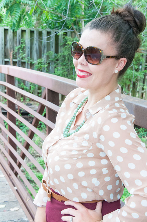 Tan polka dot top outfit
