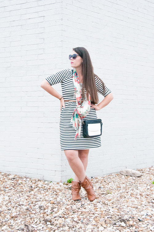 Black and white striped dress with booties and a scarf