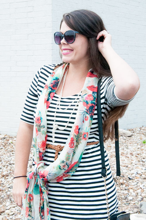 Black and white stripes with a floral scarf