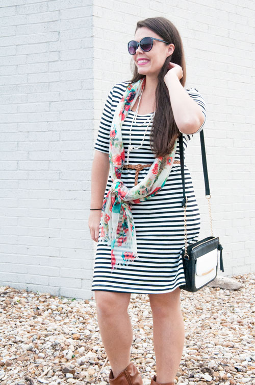 Black and white stripes with coral floral