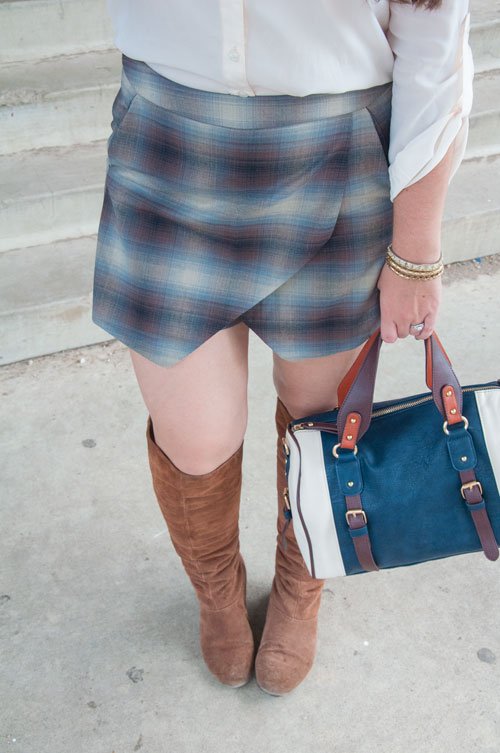 Blue skort with knee high suede boots