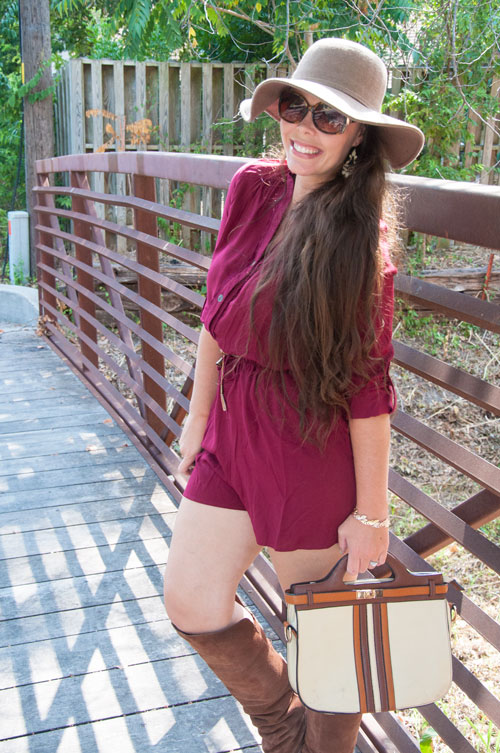 Burgundy Romper with Brown Floppy Hat