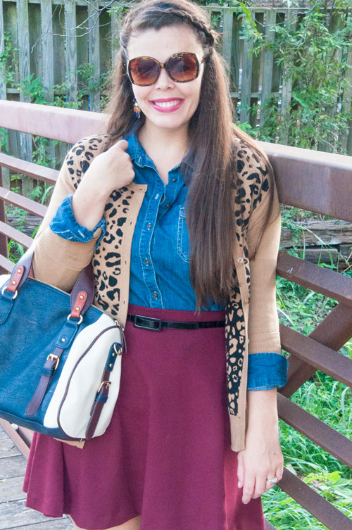 Burgundy and Leopard- Great fall outfit