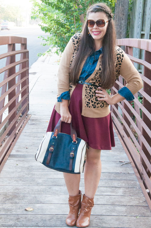 Burgundy leopard and Chambray outfit inspiration